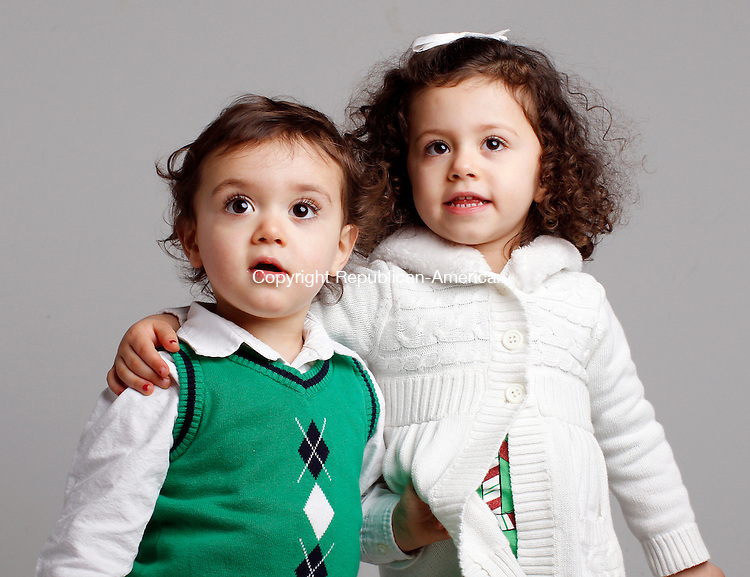 Waterbury, CT-08 December 2011-120811CM03-  Christmas Kids, Leah, 3, and Jacob, 20 months Gieseking of Winsted.  Leah wants baby dolls  and Jacob wants a race car for Christmas.   Christopher Massa Republican-American
