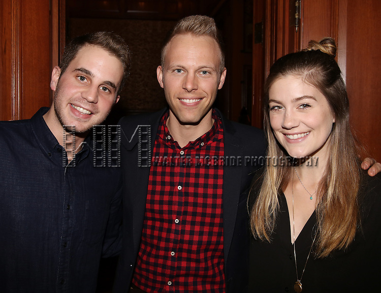 Ben Platt, Justin Paul and Laura Dreyfuss during the Dramatists Guild Fund intimate salon with Benj Pasek and Justin Paul at the home of Kara Unterberg on March 7, 2016 in New York City.