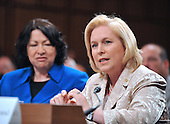 Washington, DC - July 13, 2009 -- United States Senator Kirsten Gillibrand (Democrat of New York), right, makes her introductory remarks about Judge Sonia Sotomayor's, left, nomination as Associate Justice of the U.S. Supreme Court before the U.S. Senate Judiciary Committee considers the nomination of  on Monday, July 13, 2009.  .Credit: Ron Sachs / CNP