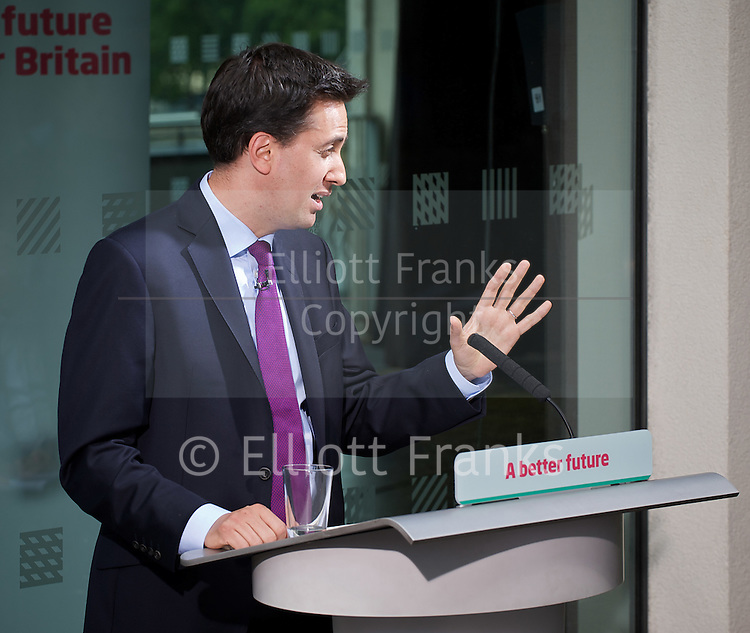 Rt Hon Ed Miliband MP<br /> Leader of the Labour Party<br /> monthly briefing at The Royal Festival Hall, Southbank, London, Great Britain <br /> 7th June 2011 <br /> <br /> Photograph by Elliott Franks