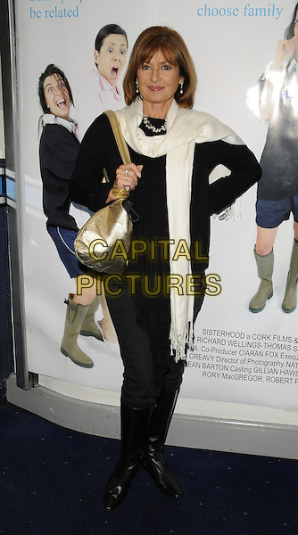 "STEPHANIE BEACHAM .""Sisterhood"" at the UK film premiere..Odeon cinema, Covent Garden, London, England.9th October 2008.full length black coat jacket white scarf gold bag purse .CAP/CAN.©Can Nguyen/Capital Pictures."