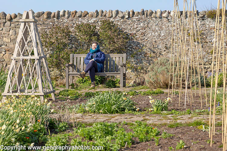 Woman sitting in spring sunshine on bench, Gertrude Jekyll garden on Holy Island, Lindisfarne, Northumberland, England, UK