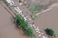 Road washout east of Greeley, Colorado.  Flooding of South Platte River.