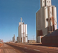Groom:  Grain Elevators. I-40, East of Rillo,TX.  Photo '80.