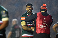 Valentino Mapapalangi of Leicester Tigers is treated for an injury. European Rugby Champions Cup match, between Leicester Tigers and Munster Rugby on December 17, 2017 at Welford Road in Leicester, England. Photo by: Patrick Khachfe / JMP