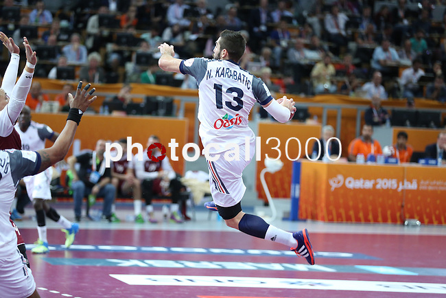 handball wordl cup match between Qatar vs France.Karabatic . 2015/02/1. Doha. Qatar. Alberto de Isidro. Photocall3000