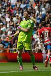 Real Madrid´s goalkeeper Iker Casillas regrets after a goal during 2014-15 La Liga match between Real Madrid and Granada at Santiago Bernabeu stadium in Madrid, Spain. April 05, 2015. (ALTERPHOTOS/Luis Fernandez)