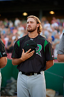 Dayton Dragons pitcher Connor Curlis (23) during the national anthem before a Midwest League game against the Kane County Cougars on July 20, 2019 at Northwestern Medicine Field in Geneva, Illinois.  Dayton defeated Kane County 1-0.  (Mike Janes/Four Seam Images)