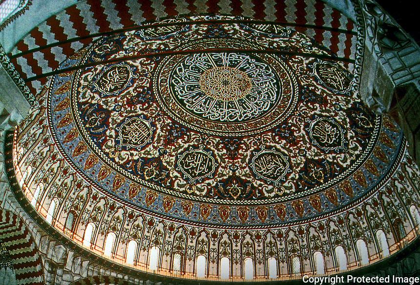 Turkey:  Arabesque dome of vast Selimiye Mosk, Edirng, Turkey, 1570's. Reign of Selim II, Suleiman's Son and Successor.