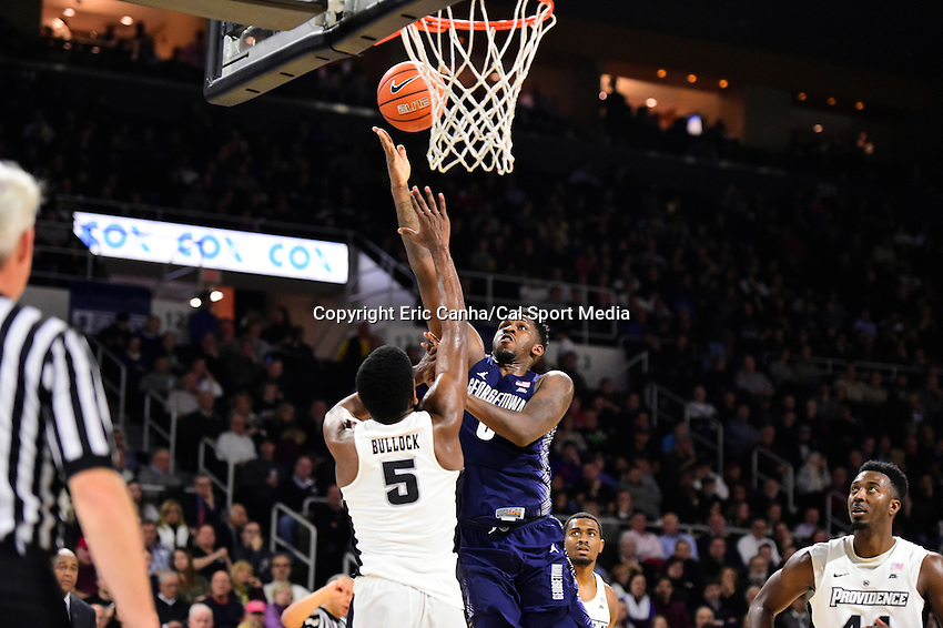 Wednesday, January 4, 2016: Georgetown Hoyas guard L.J. Peak (0) works for the score with pressure from h5/ during the NCAA basketball game between the Georgetown Hoyas and the Providence Friars held at the Dunkin Donuts Center, in Providence, Rhode Island. Providence defeats Georgetown 76-70 in regulation time. Eric Canha/CSM