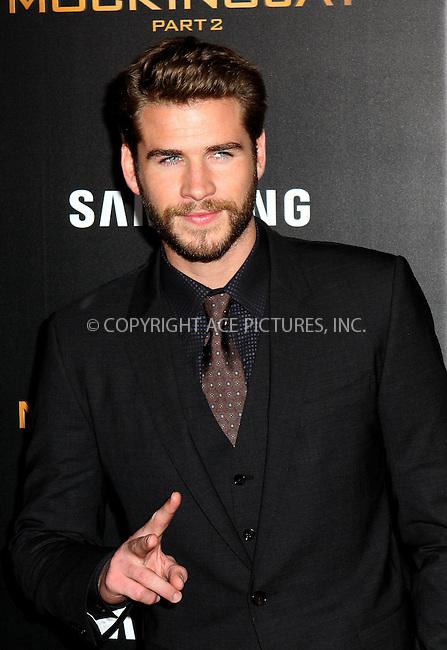 WWW.ACEPIXS.COM<br /> <br /> November 18 2015, New York City<br /> <br /> Liam Hemsworth arriving at 'The Hunger Games: Mockingjay- Part 2' New York Premiere at AMC Loews Lincoln Square on November 18, 2015 in New York City.<br /> <br /> By Line: Nancy Rivera/ACE Pictures<br /> <br /> <br /> ACE Pictures, Inc.<br /> tel: 646 769 0430<br /> Email: info@acepixs.com<br /> www.acepixs.com