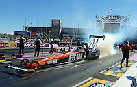 Oct. 28, 2012; Las Vegas, NV, USA: NHRA top fuel dragster driver Spencer Massey during the Big O Tires Nationals at The Strip in Las Vegas. Mandatory Credit: Mark J. Rebilas-