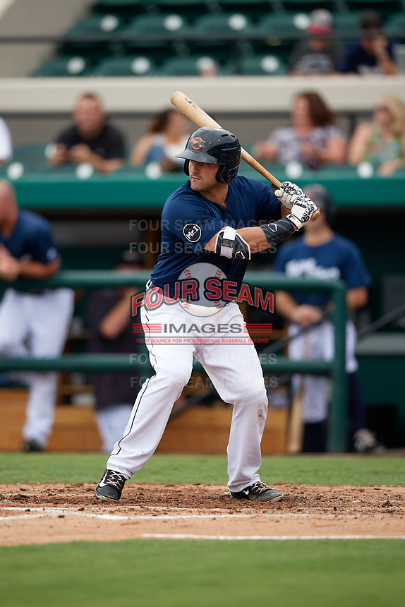 Lakeland Flying Tigers first baseman Wade Hinkle (46) at bat during the first game of a doubleheader against the St. Lucie Mets on June 10, 2017 at Joker Marchant Stadium in Lakeland, Florida.  Lakeland defeated St. Lucie 6-5 in fourteen innings.  (Mike Janes/Four Seam Images)