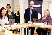 05 May 2019 - Prince William Duke of Cambridge meeting, from left, Jo Irwin, Amanda Brown-Bennet and  Carol Keith who are Crisis Volunteers working with Shout, a free text messaging service which aims to provide 24/7 support for anyone experiencing mental health crisis. Photo Credit: ALPR/AdMedia