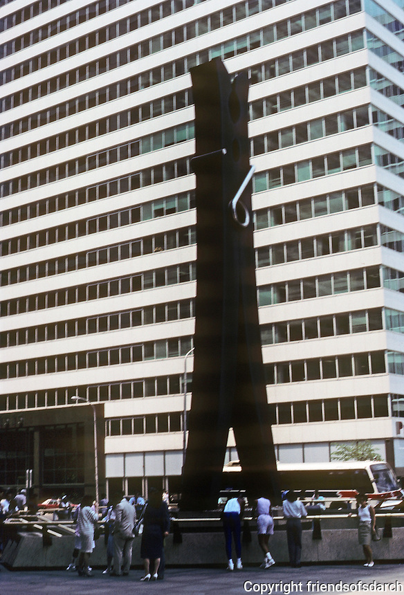 "Philadelphia: Claes Oldenburg's ""Clothespin"" sculpture. Cor-Ten and stainless steel. 45-feet tall, 10 tons. N. side of Market St. at 15th. Photo '88."