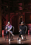 """Holli Campbell and Sabrina imamura attends the cast Q & A during The Rockefeller Foundation and The Gilder Lehrman Institute of American History sponsored High School student #EduHam matinee performance of """"Hamilton"""" at the Richard Rodgers Theatre on October 24, 2018 in New York City."""