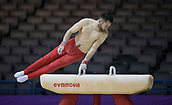 21st March 2018, Arena Birmingham, Birmingham, England; Gymnastics World Cup, day one, mens competition; James Hall (GBR) on the Pommel Horse during Training