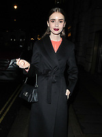 Lily Collins at the &quot;Les Miserables&quot; BAFTA TV preview, BAFTA, Piccadilly, London, England, UK, on Wednesday 05 December 2018.<br /> CAP/CAN<br /> &copy;CAN/Capital Pictures