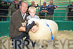 James Clifford and his nephew Jack Clifford, Caherciveen, pictured with his Reserve Champion Ram at the Scotch Ram Lamb and Aged Ram show and Sale in the Mid Kerry Co Op mart, Milltown on Saturday..NO FEE