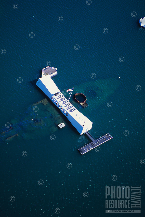 Aerial above the USS Arizona and Memorial at Pearl Harbor, Hawaii