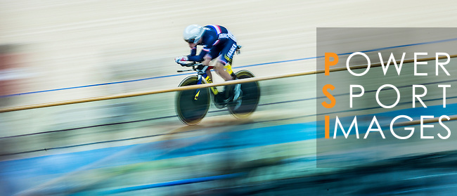 Cyclist in action during the UCI Track Cycling World Cup at the Hong Kong Velodrome in Hong Kong, China on January 15, 2016. Photo by Aitor Colomer / Power Sport Images