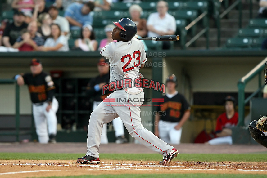 August 24 2008:  Joe Thurston of the Pawtucket Red Sox, Class-AAA affiliate of the Boston Red Sox, during a game at Frontier Field in Rochester, NY.  Photo by:  Mike Janes/Four Seam Images
