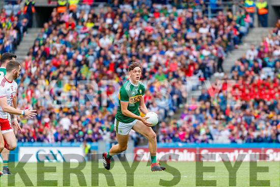 David Clifford, Kerry in action against Ronan McGee, Tyrone during the All Ireland Senior Football Semi Final between Kerry and Tyrone at Croke Park, Dublin on Sunday.