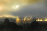 Fog burns off of  Rose Valley Lake