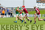 Keith Carmody Causeway in action against Ricky Heffernan  Lixnaw during the Kerry County Hurling final between Causeway and Lixnaw at Austin Stack park on Sunday