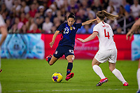 5th March 2020, Orlando, Florida, USA;  the United States forward Christen Press (23) shoots past Englands Walsh during the SheBelieves Cup match between England and the USA on March 5, 2020, at Exploria Stadium in Orlando FL.
