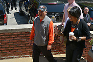 April 26, 2013  (Baltimore, Maryland)  San Francisco Mayor Edwin M. Lee (c) arrives at a Baltimore police station during a community service visit to Baltimore, MD after Mayor Stephanie Rawling-Blake (r) won a Super Bowl bet between the two cities. The Ravens beat the 49ers in Super Bowl XXXV.  (Photo by Don Baxter/Media Images International)
