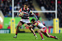 Peter Betham of Leicester Tigers looks to fend Karl Dickson of Harlequins. Aviva Premiership match, between Leicester Tigers and Harlequins on November 20, 2016 at Welford Road in Leicester, England. Photo by: Patrick Khachfe / JMP