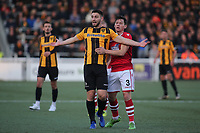 Maidstone's Jake Cassidy appeals for a free-kick after being held back by Wrexham's James Jennings during Maidstone United vs Wrexham, Vanarama National League Football at the Gallagher Stadium on 17th November 2018