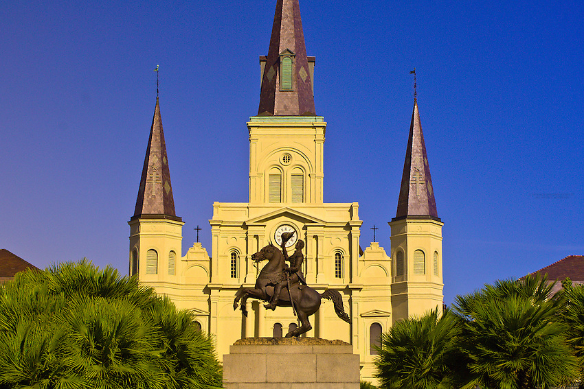 Andrew Jackson statue in Jackson Square with St. Louis Cathedral in back, French Quarter, New Orleans, Louisiana, USA