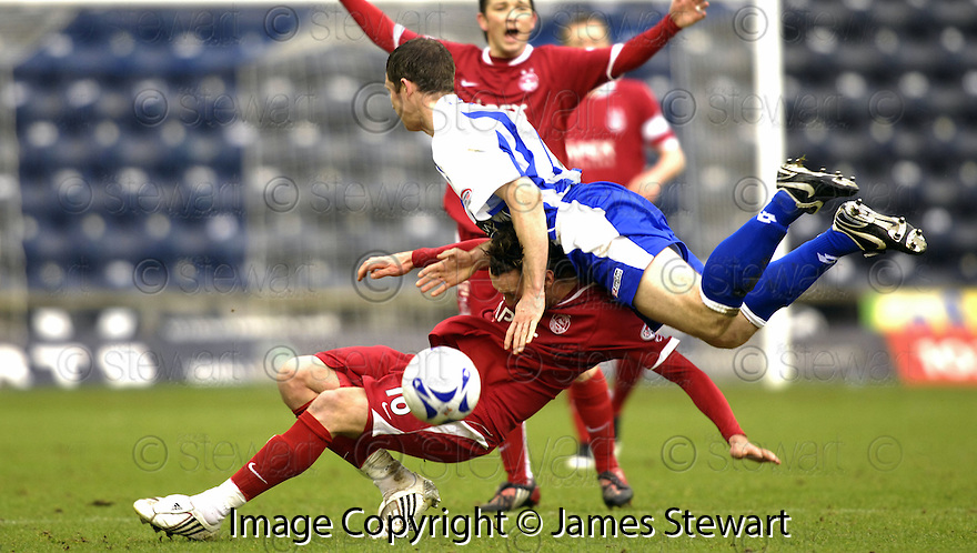 24/02/2008    Copyright Pic: James Stewart.File Name : sct_jspa13_kilmarnock_v_aberdeen.FRAZER WRIGHT GOES OVER THE TOP OF LEE MILLER.James Stewart Photo Agency 19 Carronlea Drive, Falkirk. FK2 8DN      Vat Reg No. 607 6932 25.Studio      : +44 (0)1324 611191 .Mobile      : +44 (0)7721 416997.E-mail  :  jim@jspa.co.uk.If you require further information then contact Jim Stewart on any of the numbers above........