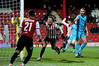 Sergi Canos celebrates scoring Brentford's opening goal during Brentford vs Barnet, Emirates FA Cup Football at Griffin Park on 5th February 2019