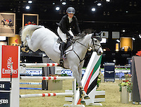 Ashlee Bond (USA), riding Cornancer at the Gucci Gold Cup International Jumping competition at the 2015 Longines Masters Los Angeles at the L.A. Convention Centre.<br /> October 3, 2015  Los Angeles, CA<br /> Picture: Paul Smith / Featureflash