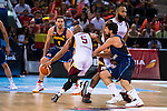 Spain's basketball player Pau Gasol and Sergio Llull and Venezuela's basketball player Gregory Vargas during the  match of the preparation for the Rio Olympic Game at Madrid Arena. July 23, 2016. (ALTERPHOTOS/BorjaB.Hojas)