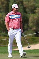 Stephen Gallacher (SCO) on the 1st green during Round 2 of the Omega Dubai Desert Classic, Emirates Golf Club, Dubai,  United Arab Emirates. 25/01/2019<br /> Picture: Golffile | Thos Caffrey<br /> <br /> <br /> All photo usage must carry mandatory copyright credit (© Golffile | Thos Caffrey)