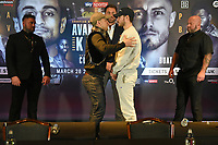 David Avanesyan (2nd L) and Josh Kelly share a joke during a Press Conference at Glaziers Hall on 14th February 2020