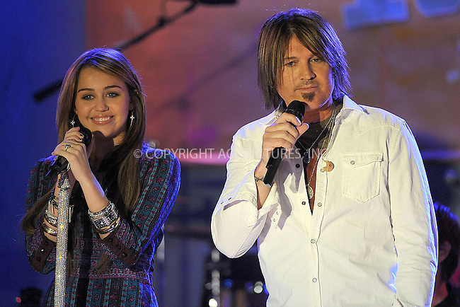 WWW.ACEPIXS.COM . . . . . ....April 8 2009, New York City....Singers Miley Cyrus and Billy Ray Cyrus performed live for ABC's ''Good Morning America'' at the Hard Rock Cafe on April 8, 2009 in New York City.....Please byline: KRISTIN CALLAHAN - ACEPIXS.COM.. . . . . . ..Ace Pictures, Inc:  ..tel: (212) 243 8787 or (646) 769 0430..e-mail: info@acepixs.com..web: http://www.acepixs.com