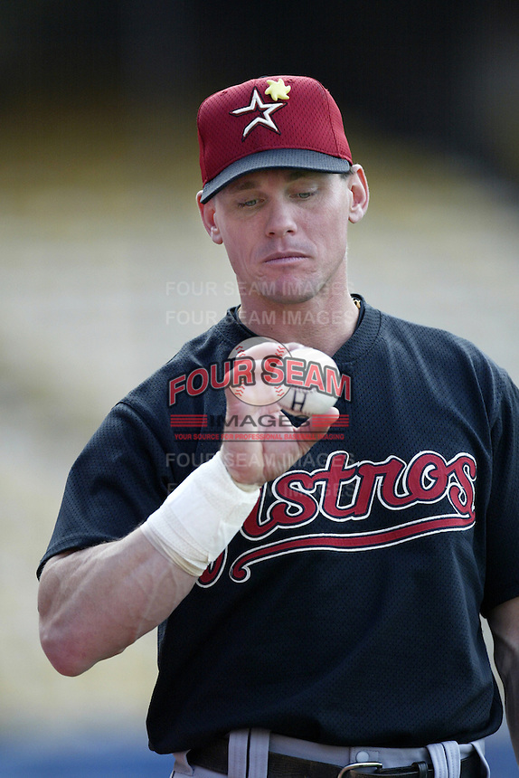 Craig Biggio of the Houston Astros before a 2002 MLB season game against the Los Angeles Dodgers at Dodger Stadium, in Los Angeles, California. (Larry Goren/Four Seam Images)