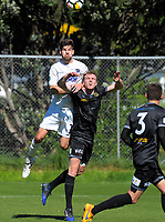 Action from the ISPS Handa Premiership football Charity Cup match between Team Wellington and Auckland City FC at David Farrington Park in Wellington, New Zealand on Sunday, 15 October 2017. Photo: Dave Lintott / lintottphoto.co.nz
