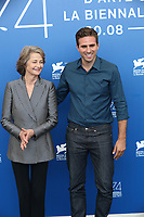 Charlotte Rampling  and Andrea Pallaoro attend the 'HANNAH'' photocall during the 74th Venice Film Festival at Sala Casino on September 8, 2017 in Venice, Italy.<br /> CAP/GOL<br /> &copy;GOL/Capital Pictures