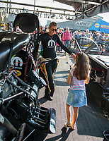 Nov 11, 2018; Pomona, CA, USA; NHRA top fuel driver Leah Pritchett during the Auto Club Finals at Auto Club Raceway. Mandatory Credit: Mark J. Rebilas-USA TODAY Sports