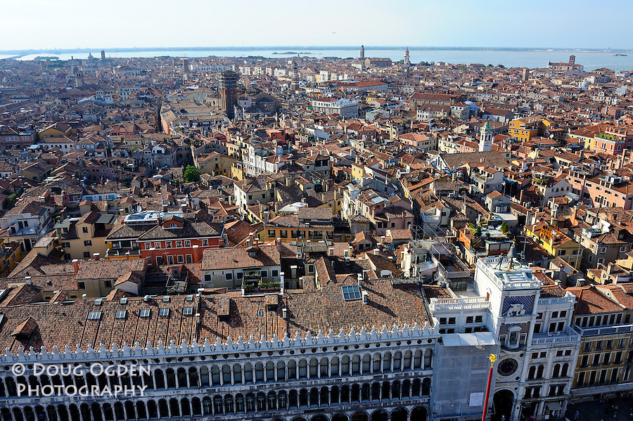 Across the roof os Venice from the Campanile San Marco, Venice, Italy