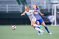 Boston, MA - Sunday May 07, 2017: Lynn Williams and Julie King during a regular season National Women's Soccer League (NWSL) match between the Boston Breakers and the North Carolina Courage at Jordan Field.