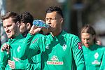 12.03.2020, Trainingsgelaende am wohninvest WESERSTADION,, Bremen, GER, 1.FBL, Werder Bremen Training, im Bild<br /> <br /> Die Mannschaft kommt zum Training - Kevin Vogt (Werder Bremen  #03)<br /> Sebastian Langkamp (Werder Bremen #15)<br /> Davie Selke (Neuzugang SV Werder Bremen #09)<br /> trinkt aqus der Wasserflasche<br /> <br /> Foto © nordphoto / Kokenge