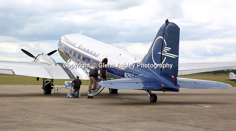 Douglas DC-3, N25641, of Legends Airways at the 75th Anniversary of the D-Day Landings, Duxford, United Kingdom, 5th June 2019. Photo by Glenn Ashley Photography