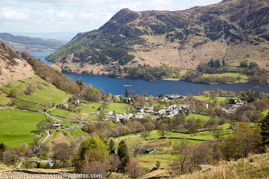 View of Ullswater lake and Glenridding village, Lake District, Cumbria, England, UK